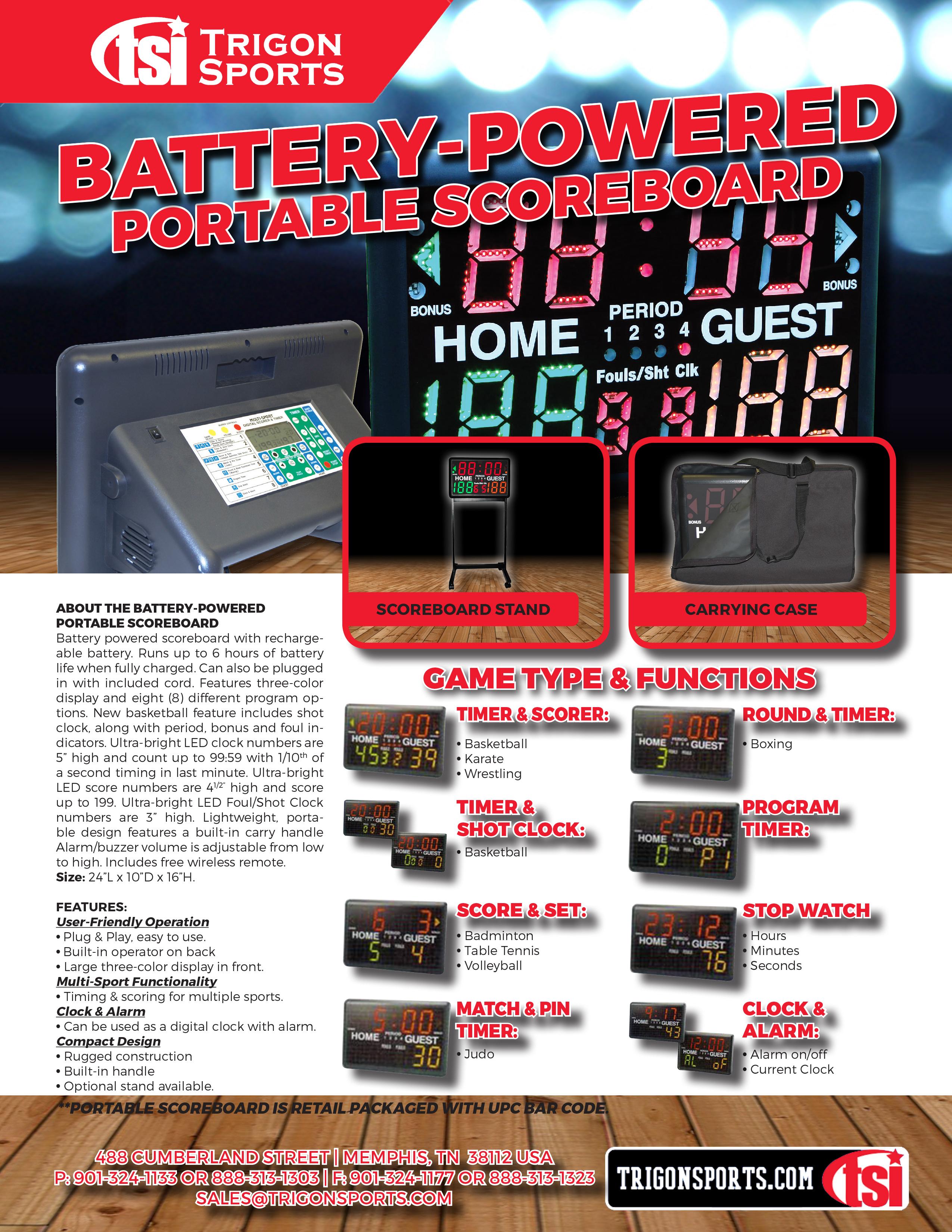Trigon Sports Multi-Sport Indoor Tabletop Scoreboard /& Timer